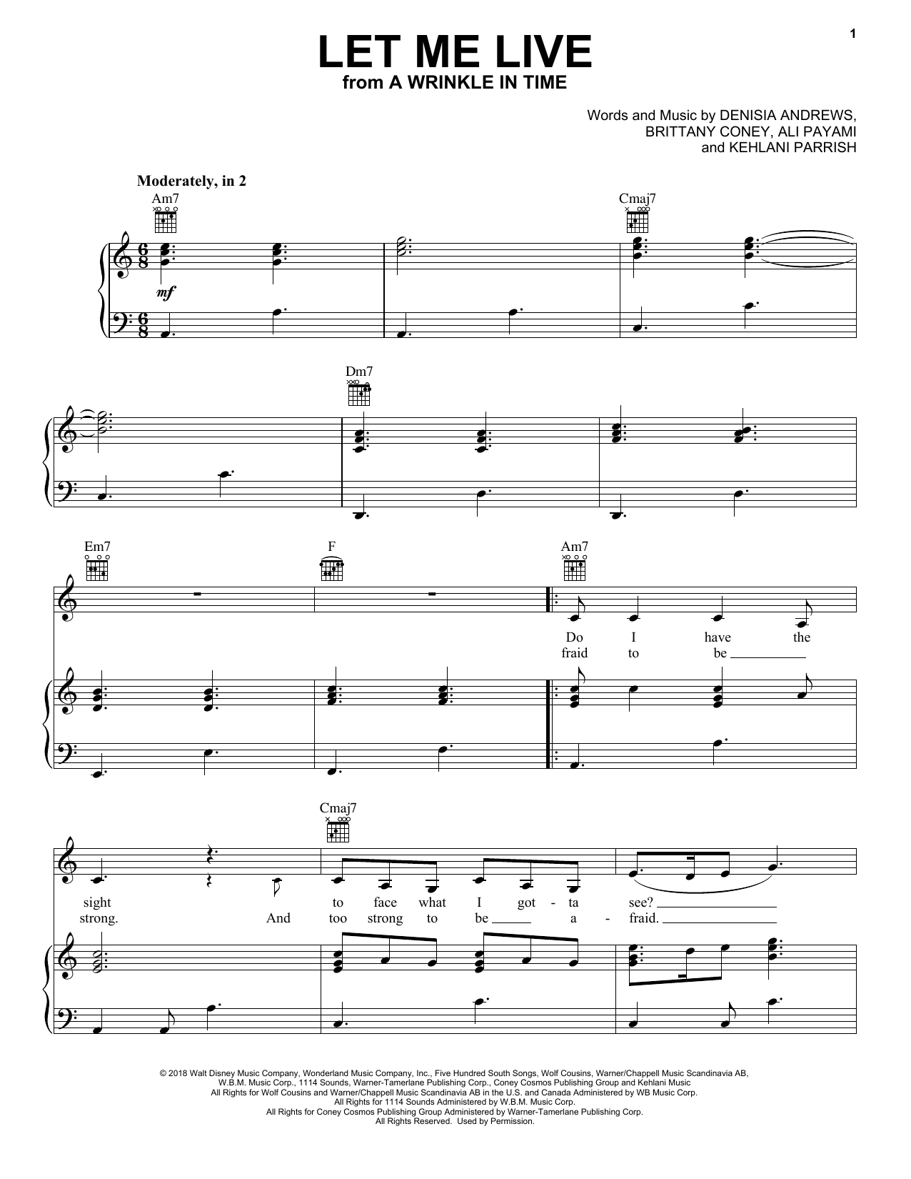 Let Me Live (from A Wrinkle In Time) (Piano, Vocal & Guitar (Right-Hand Melody))