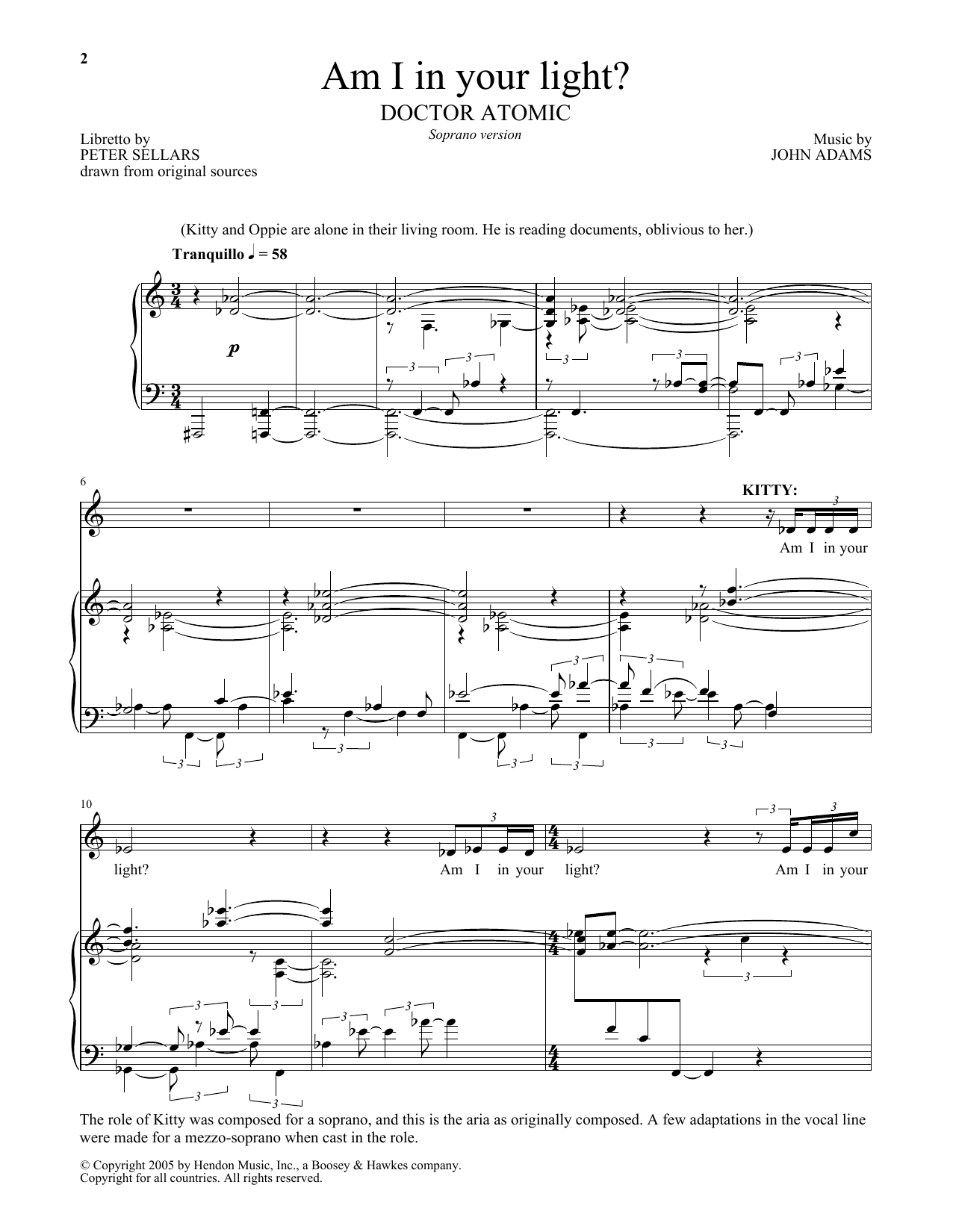 Am I in your light? (from Doctor Atomic) (Piano & Vocal)