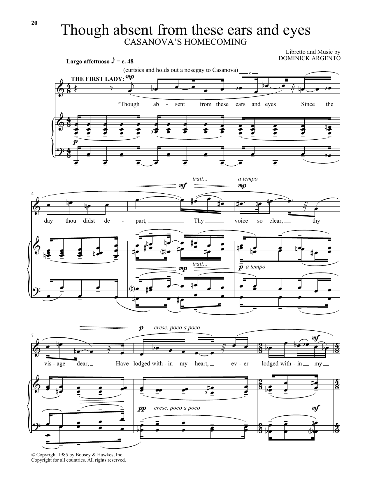 Though absent from these ears and eyes (from Casanova's Homecoming) (Piano & Vocal)