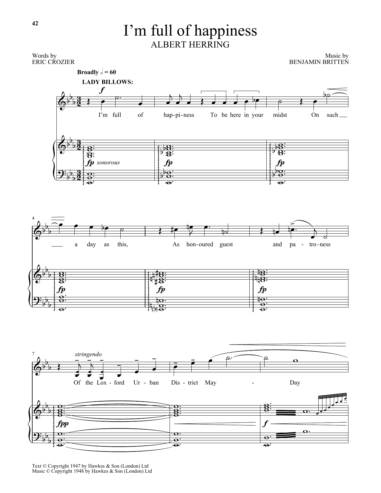 I'm full of happiness (from Albert Herring) (Piano & Vocal)
