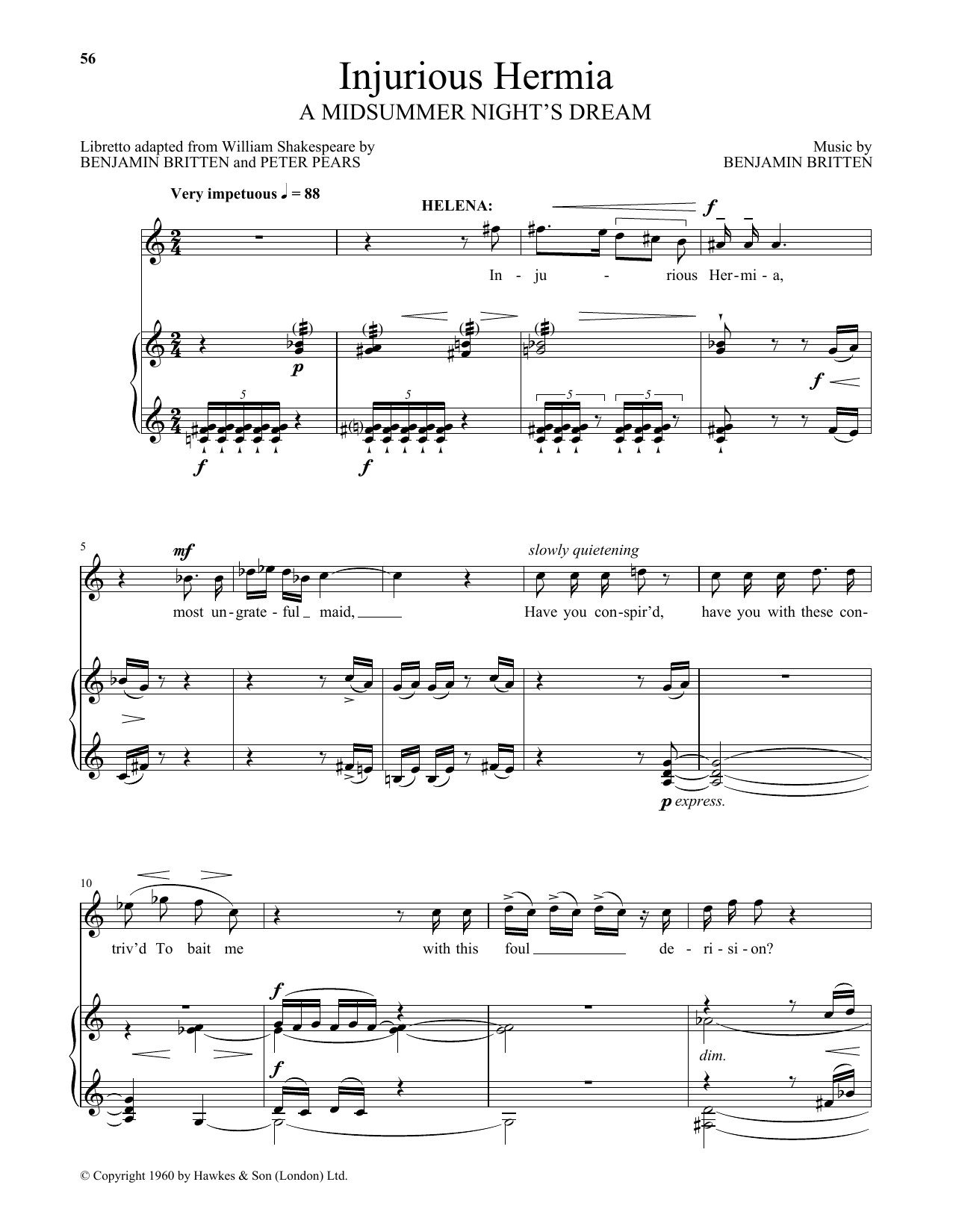 Injurious Hermia (from A Midsummer Night's Dream) (Piano & Vocal)