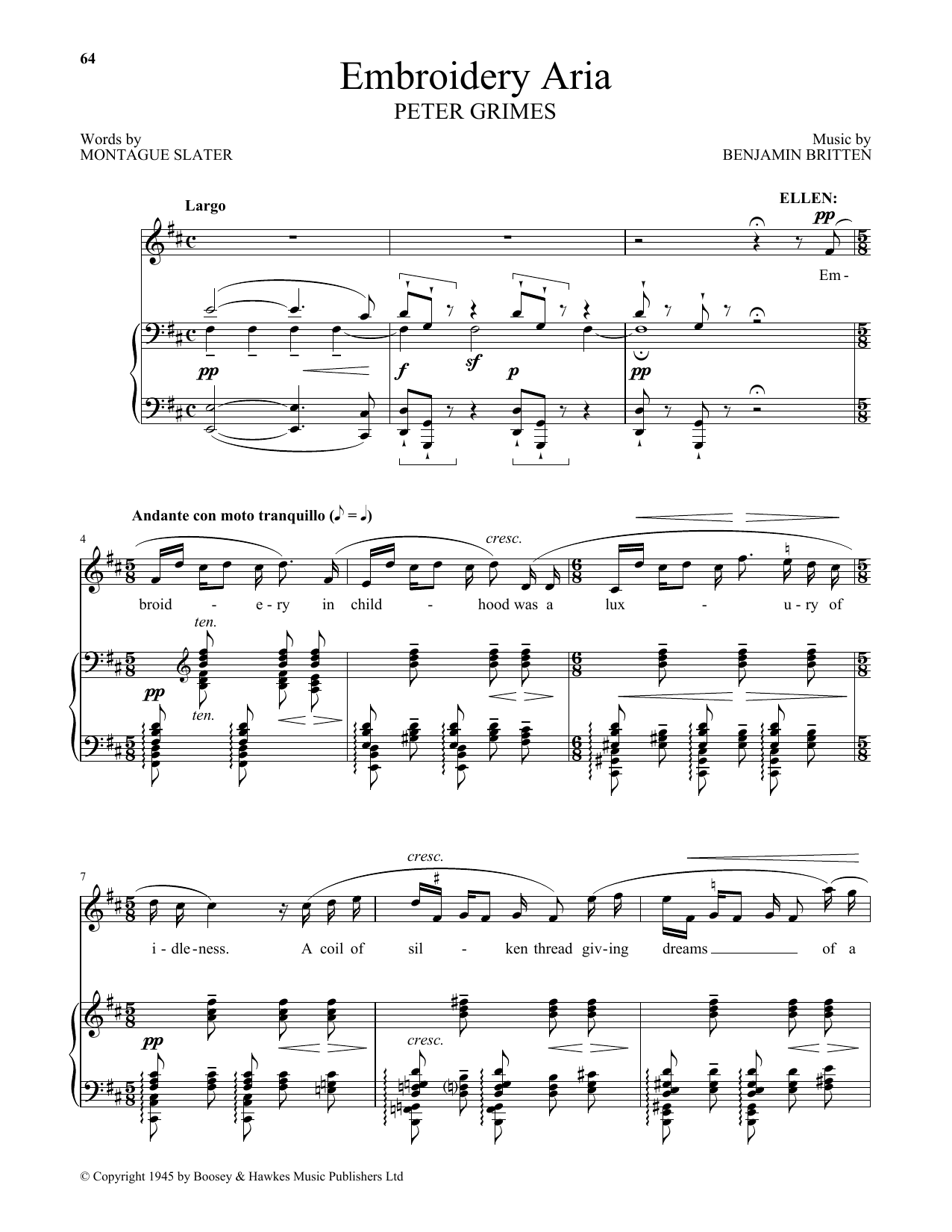 Embroidery Aria (from Peter Grimes) (Piano & Vocal)