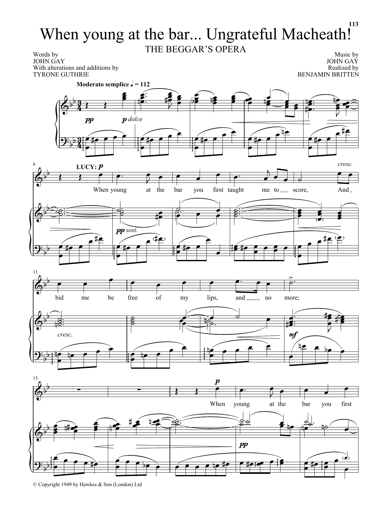 When young at the bar...Ungrateful Macheath! (from The Beggar's Opera) (Piano & Vocal)