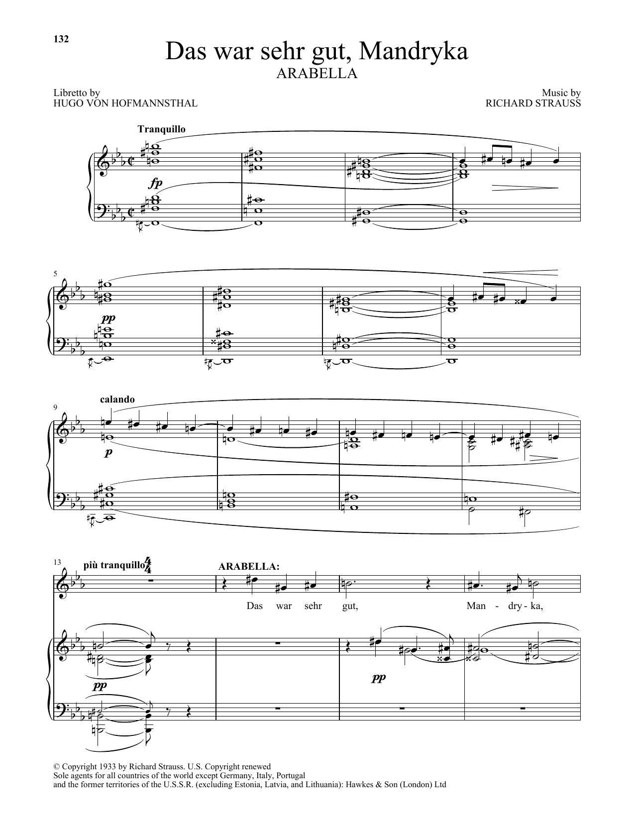 Das War Sehr Gut, Mandryka (from Arabella) (Piano & Vocal)