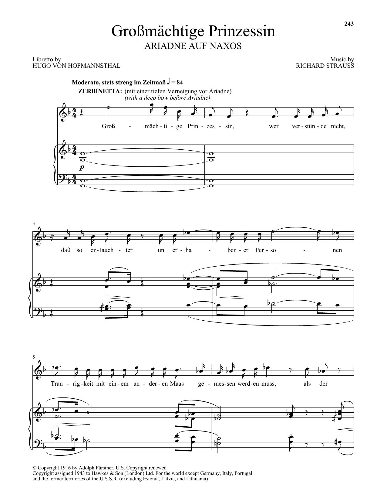 Grossmatige Prinzessin (from Ariadne auf Naxos) (Piano & Vocal)