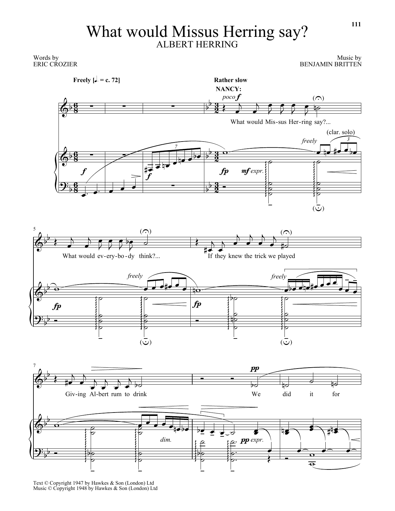 What would Missus Herring say? (from Albert Herring) (Piano & Vocal)