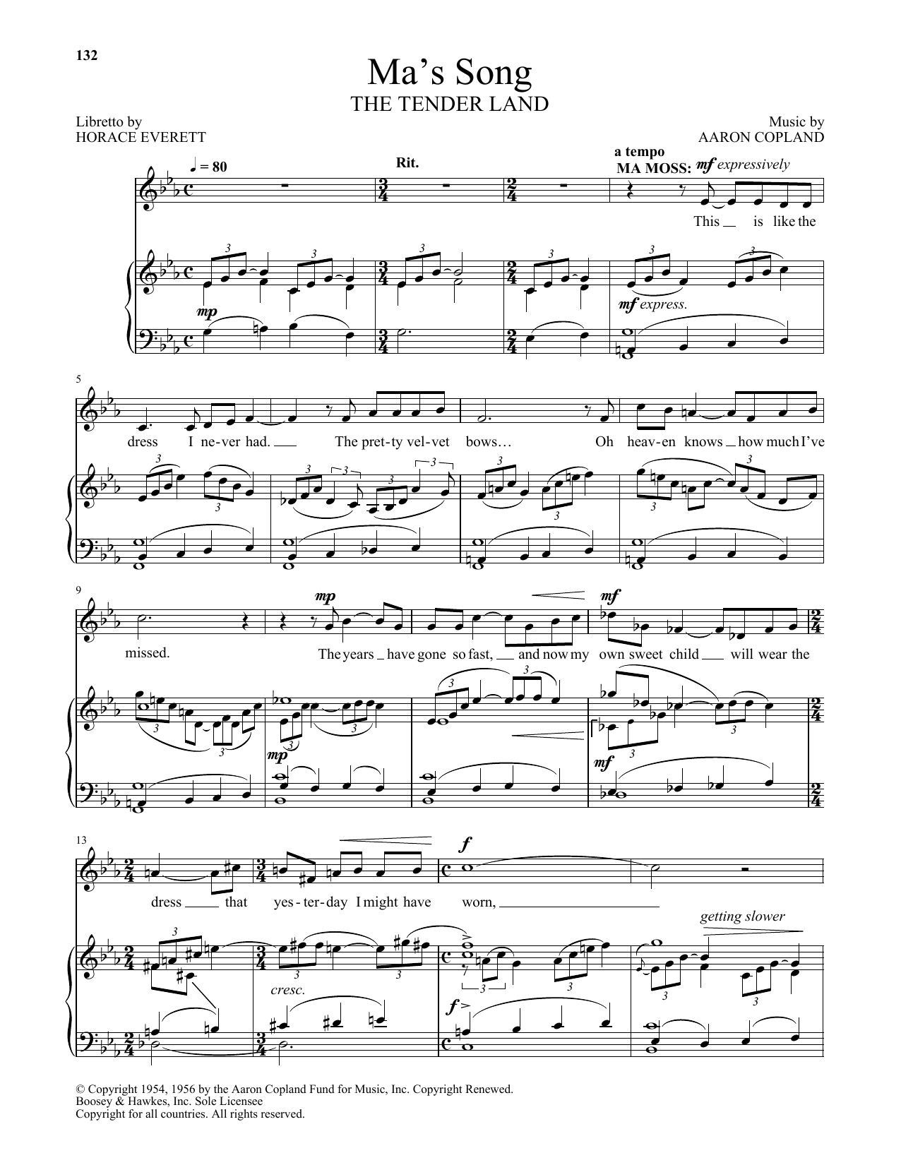 Ma's Song (from The Tender Land) (Piano & Vocal)