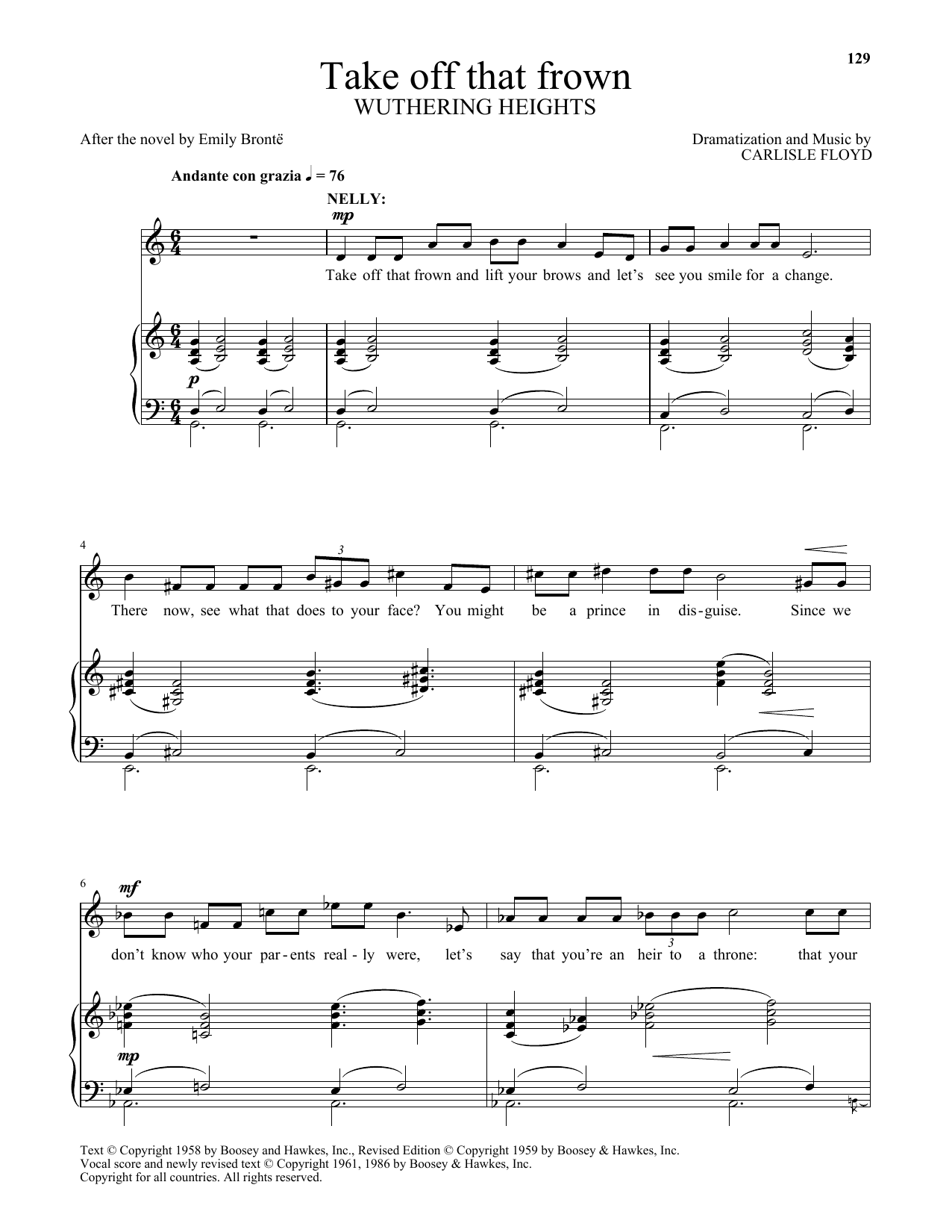 Take off that frown (from Wuthering Heights) (Piano & Vocal)