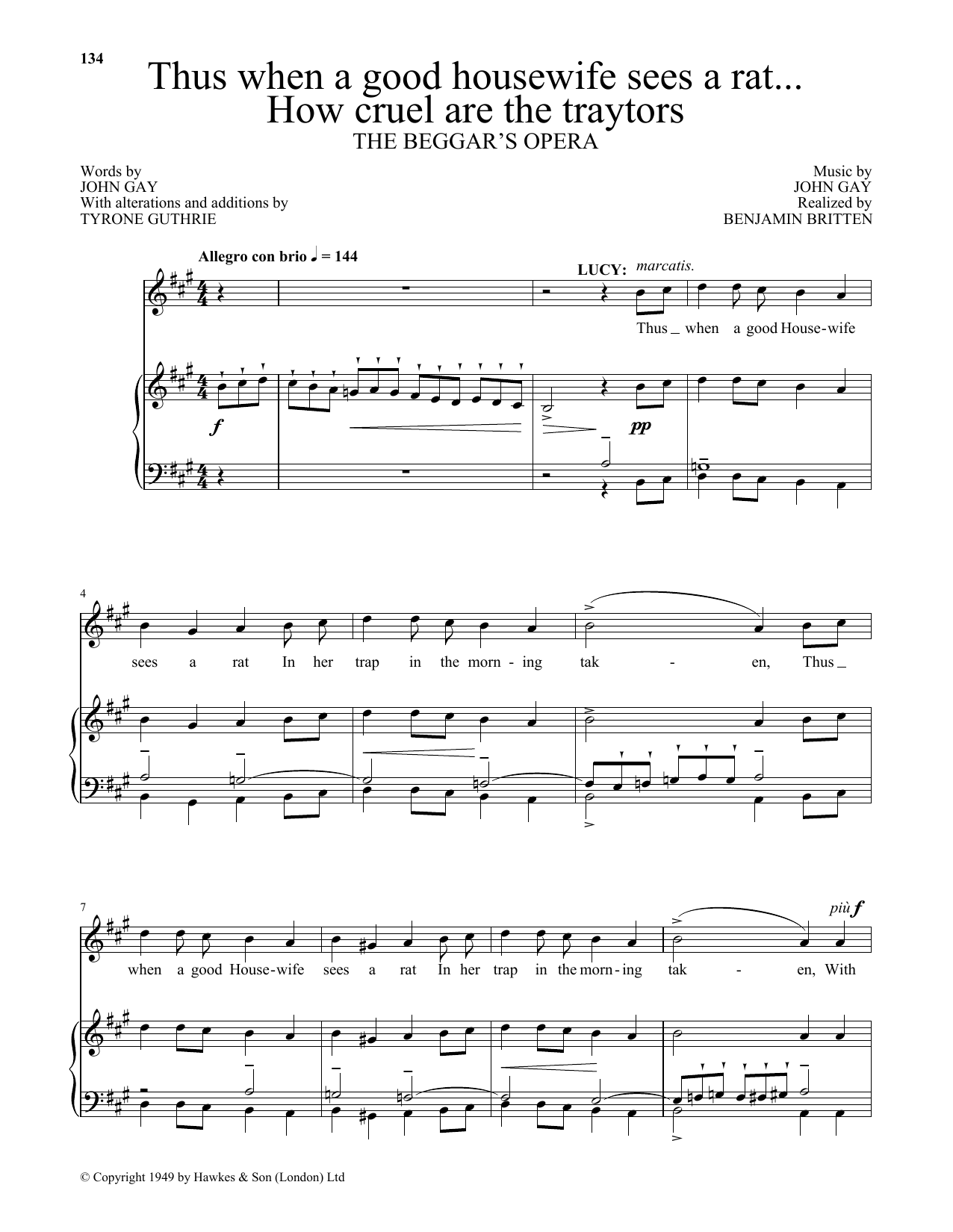 Thus when A good housewife sees a rat...How cruel are the traytors (from The Beggar's Opera) (Piano & Vocal)