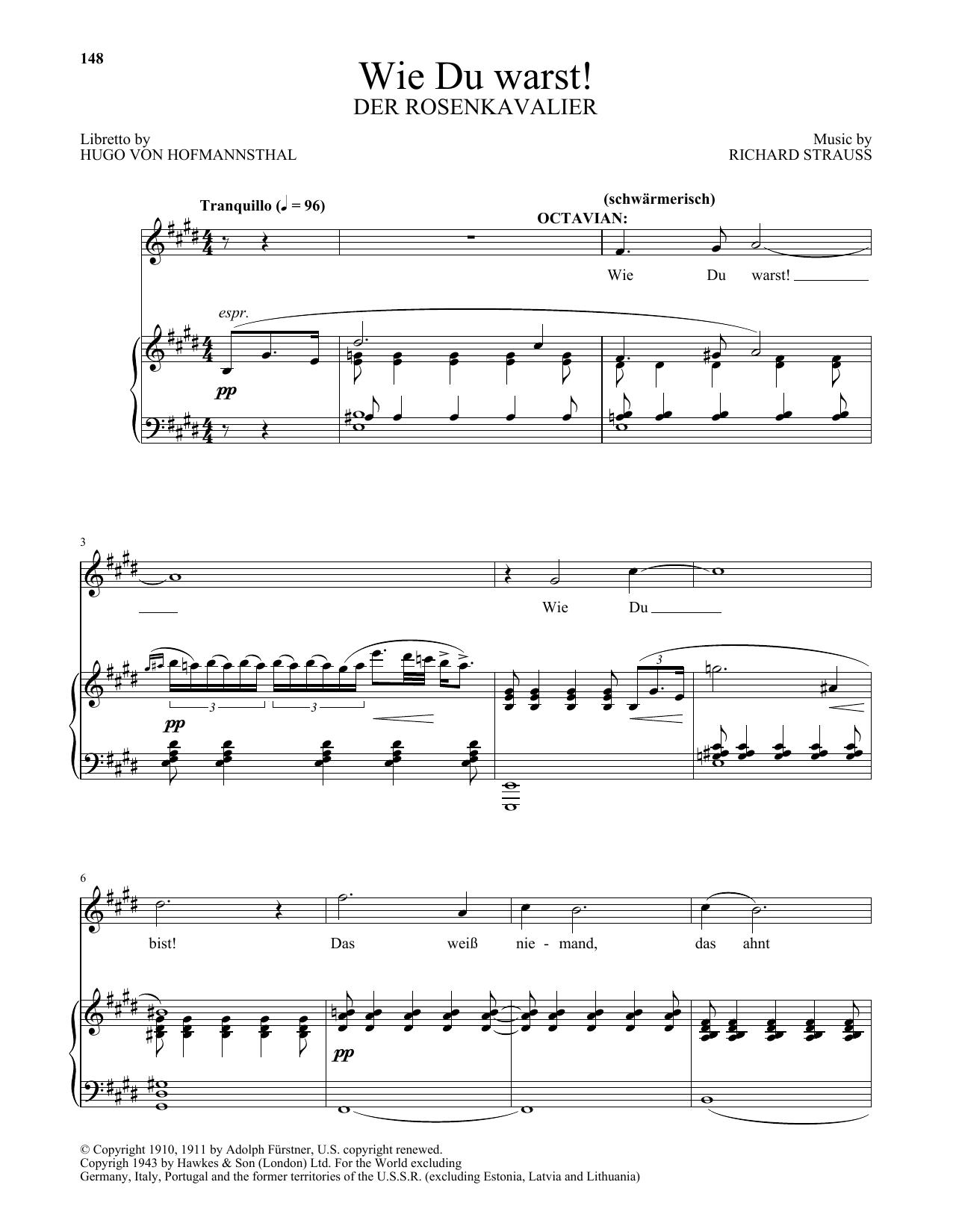 Wie Du warst! (from Der Rosenkavalier) (Piano & Vocal)