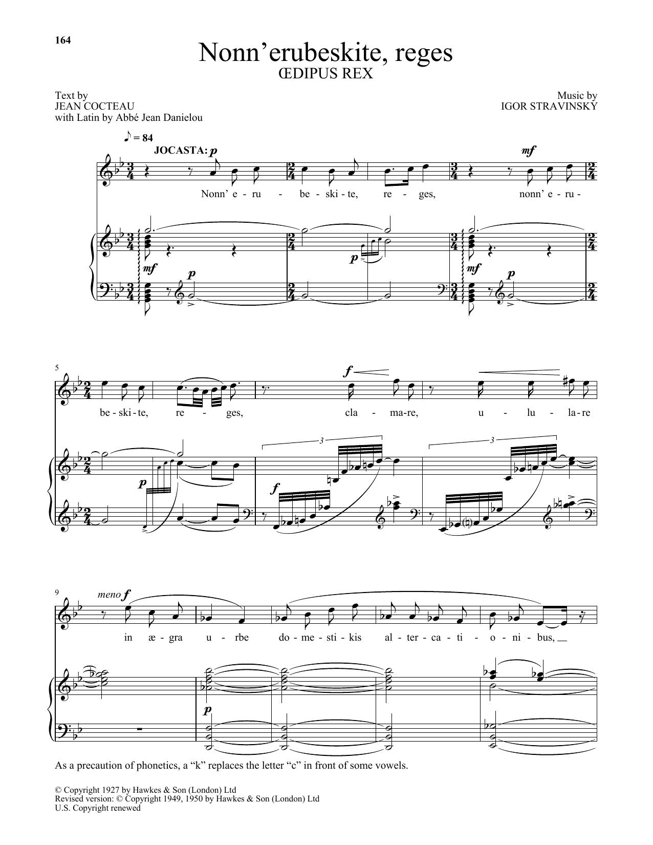 Nonn' erubeskite, reges (from Oedipus Rex) (Piano & Vocal)