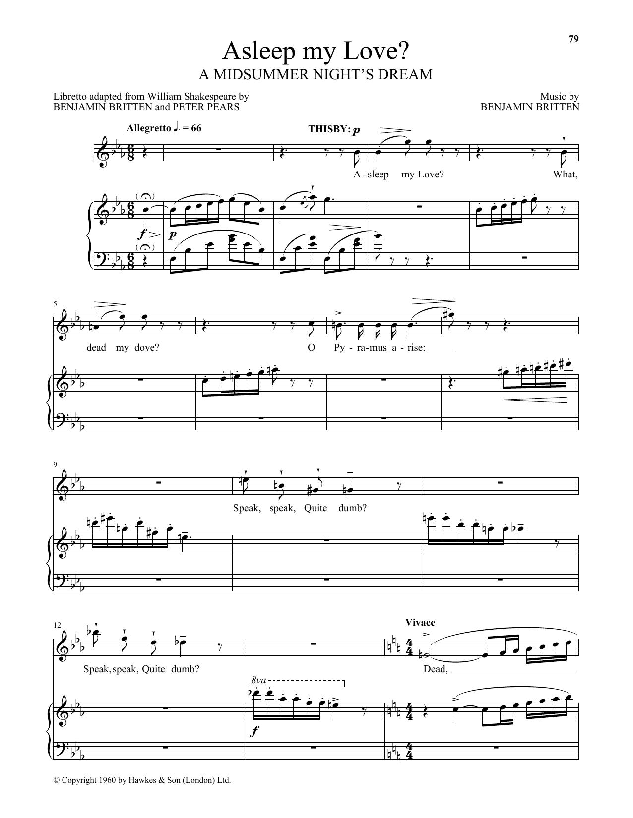 Asleep My Love? (Piano & Vocal)