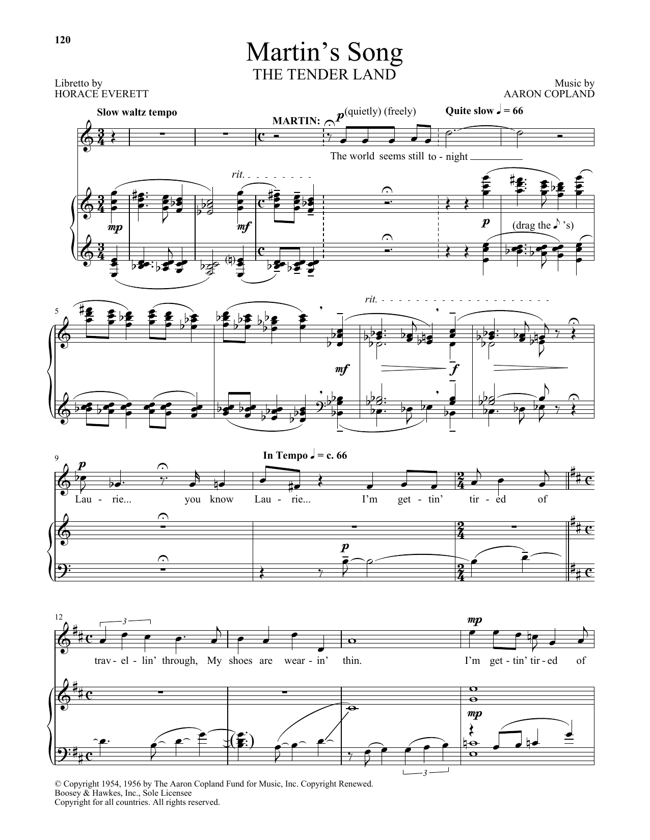 Martin's Song (from The Tender Land) (Piano & Vocal)