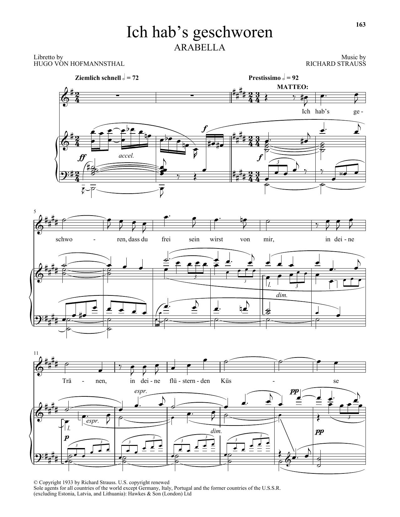 Ich Hab's Geschworen (Piano & Vocal)