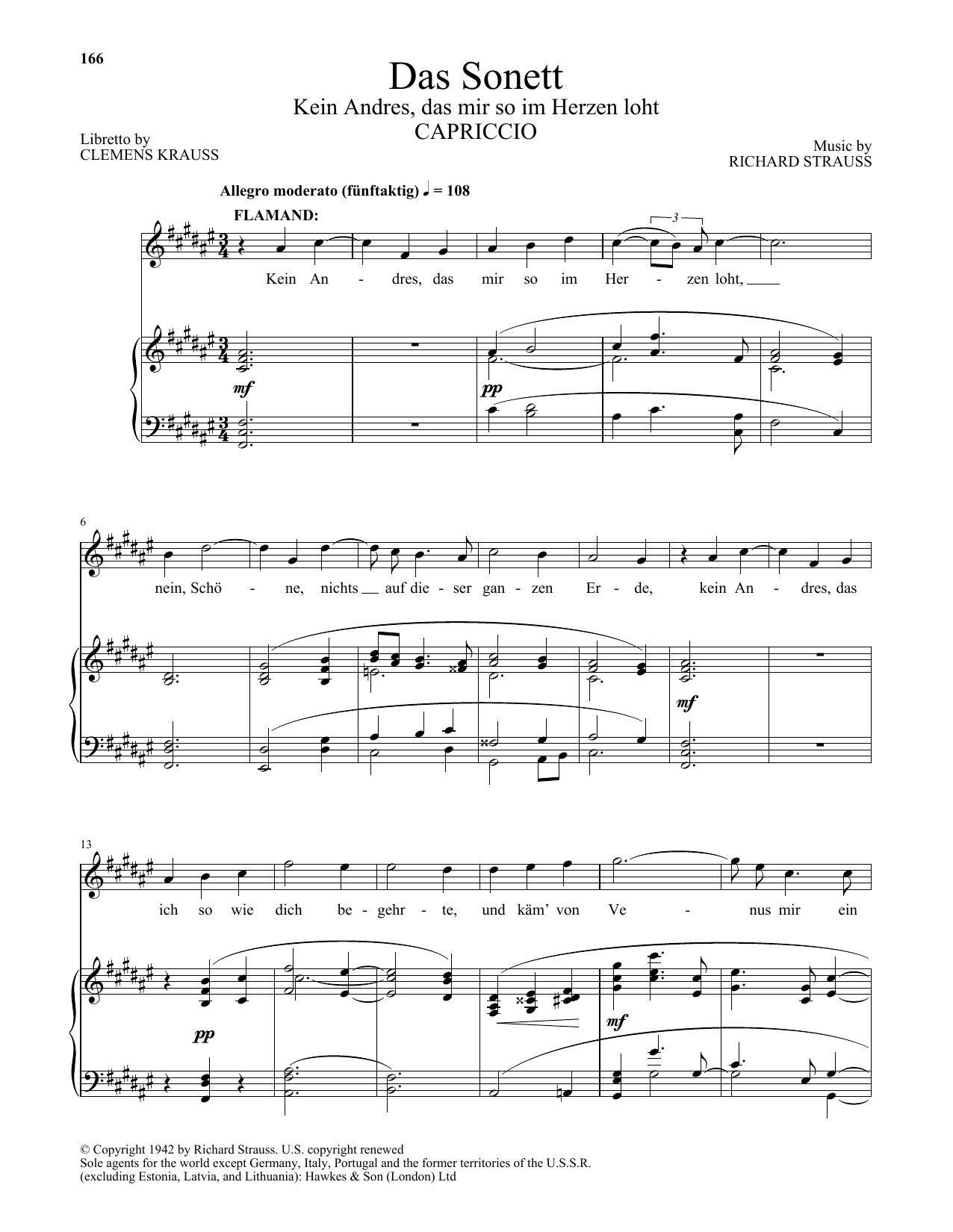 Das Sonett (Kein Andres, Das Mir So Im Herzen Loht) (Piano & Vocal)