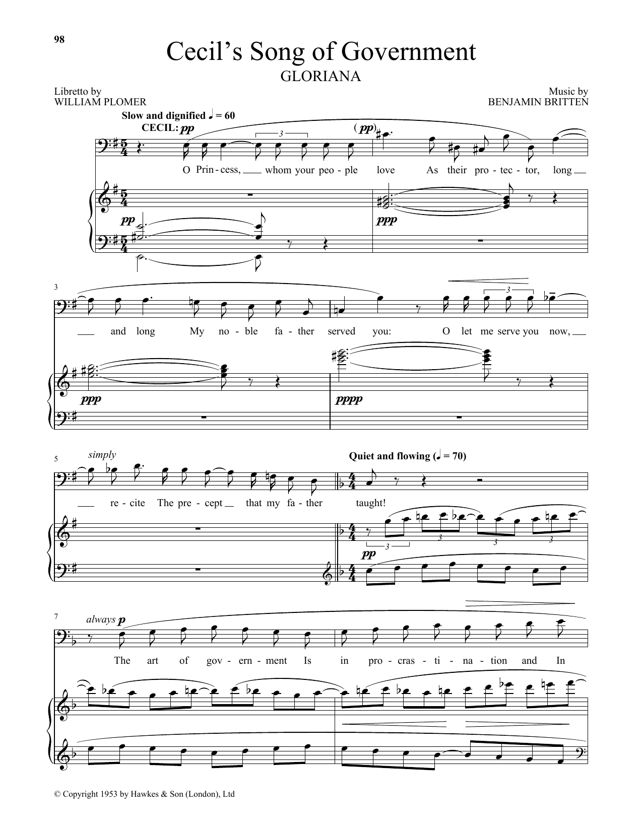 Cecil's Song Of Government (Piano & Vocal)