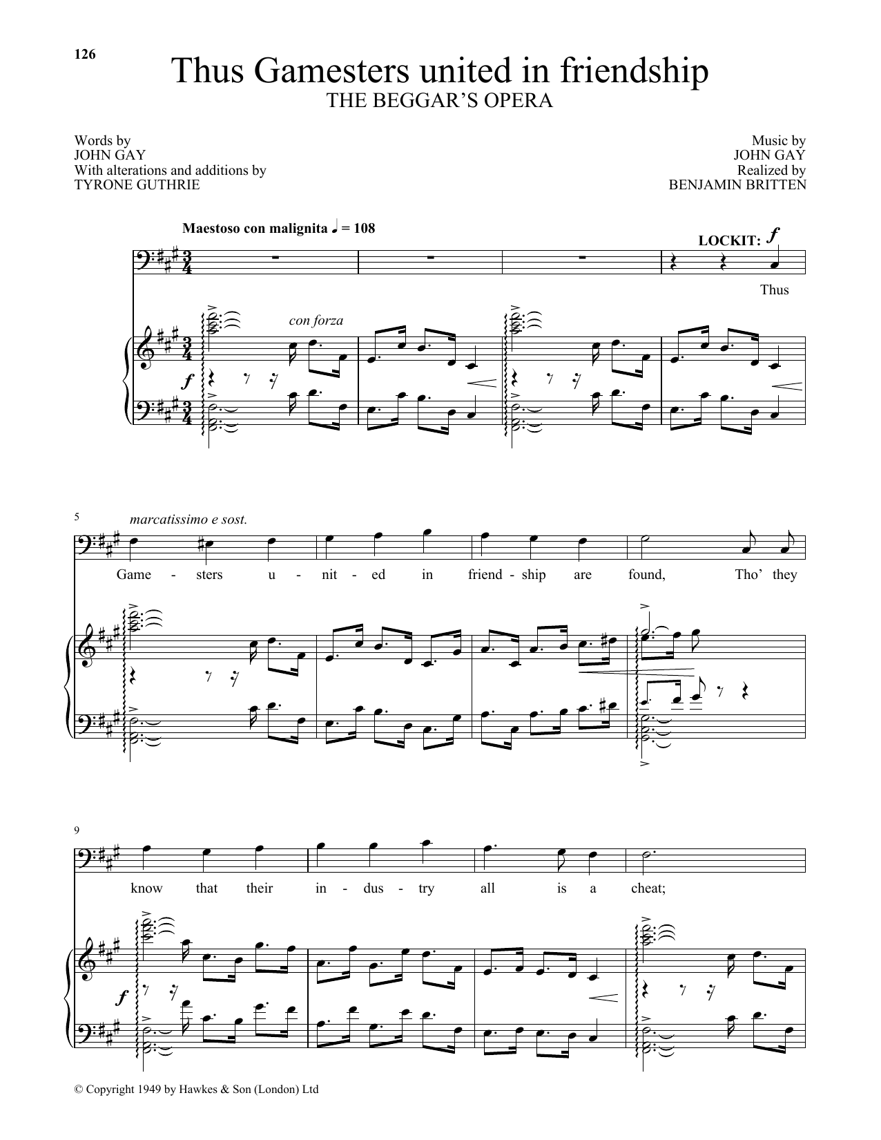 Thus Gamesters united in friendship (from The Beggar's Opera) (Piano & Vocal)