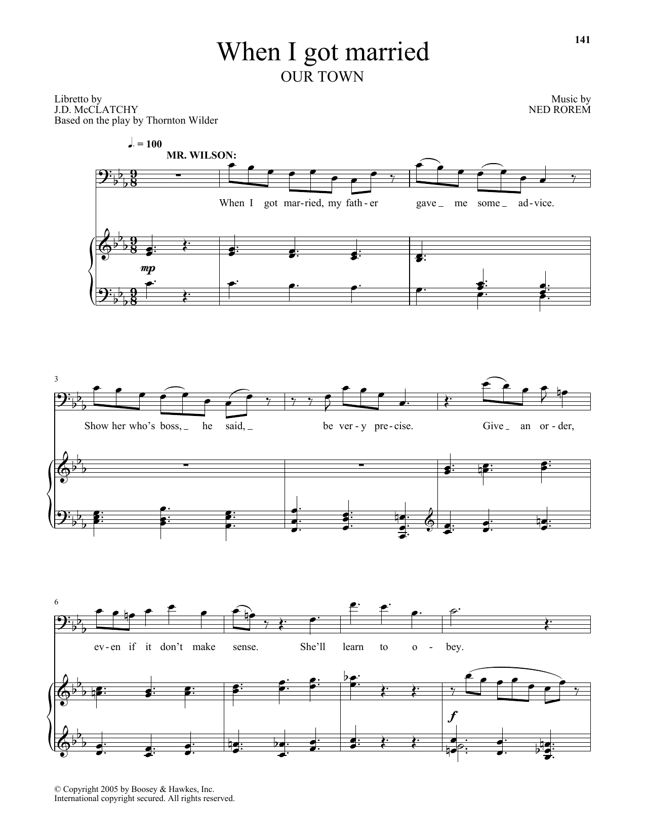 When I got married (from Our Town) (Piano & Vocal)