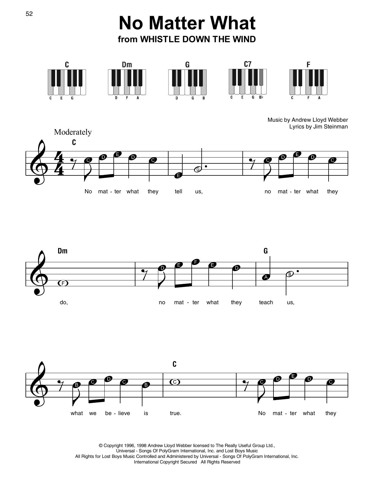 No Matter What (Super Easy Piano)