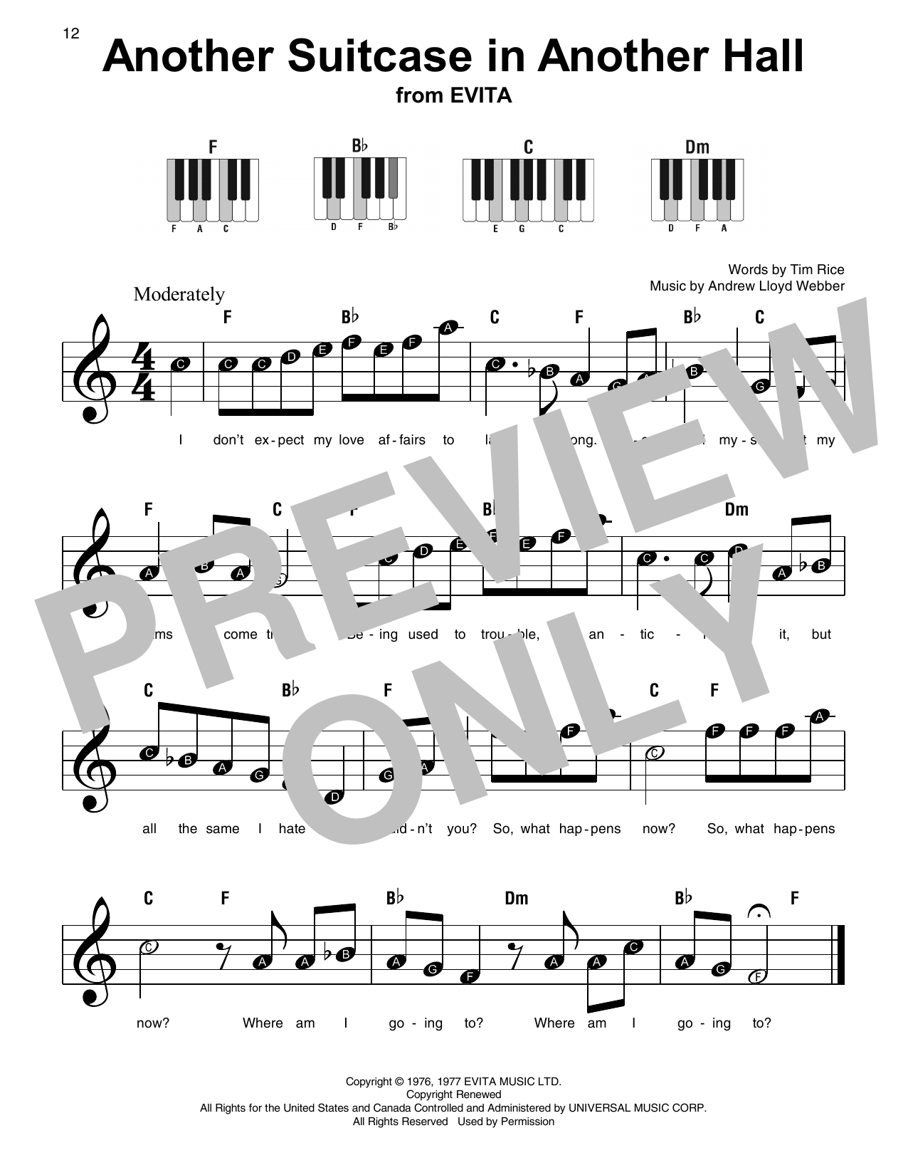 Another Suitcase In Another Hall Sheet Music