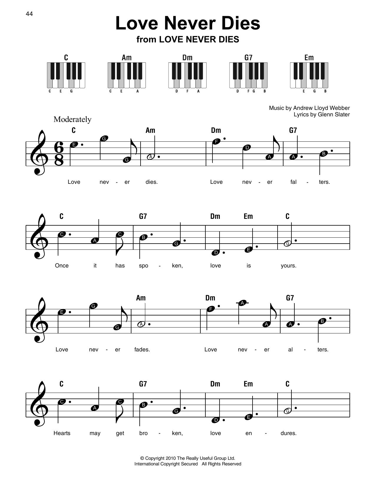 Love Never Dies Sheet Music
