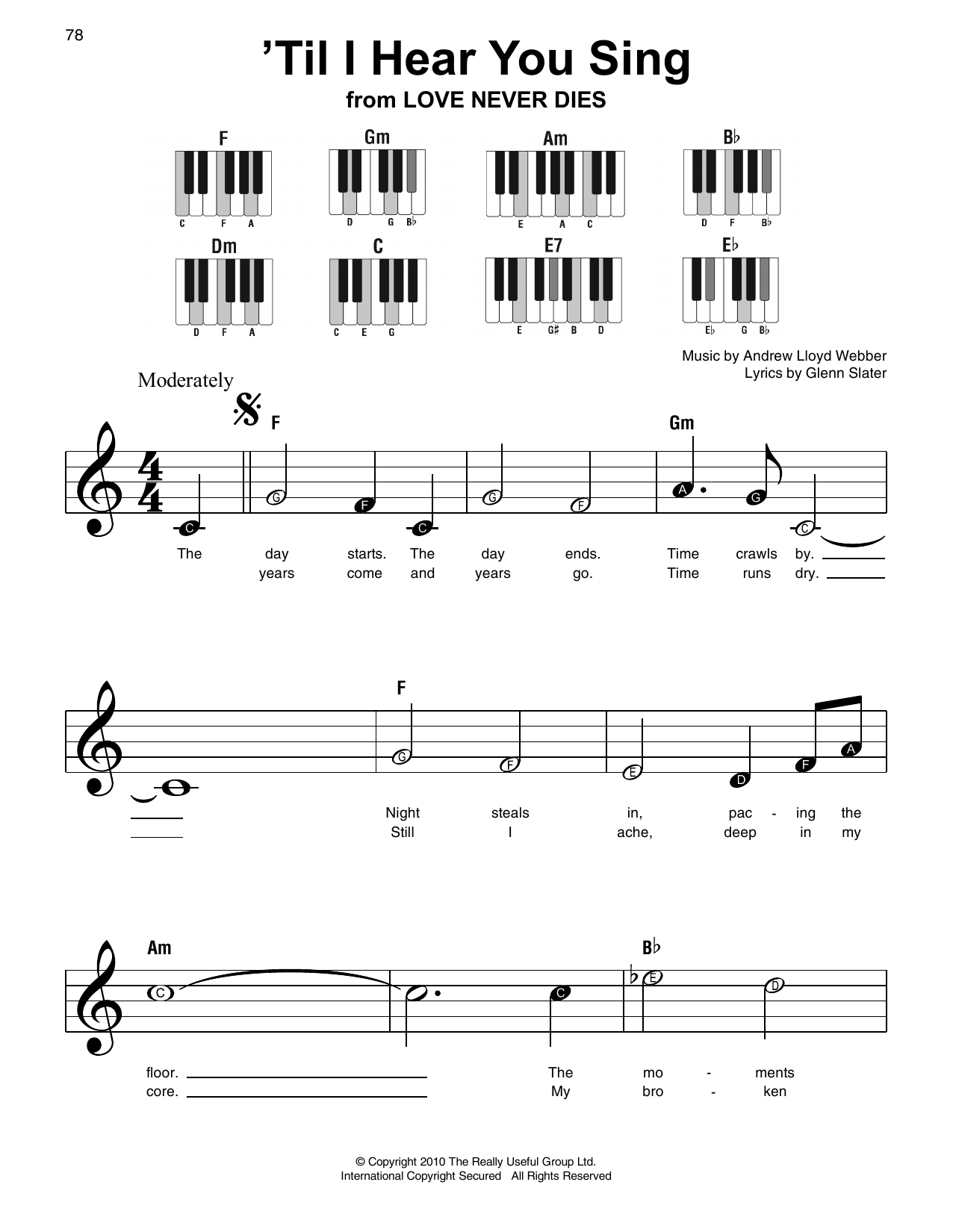 'Til I Hear You Sing (from 'Love Never Dies') Sheet Music