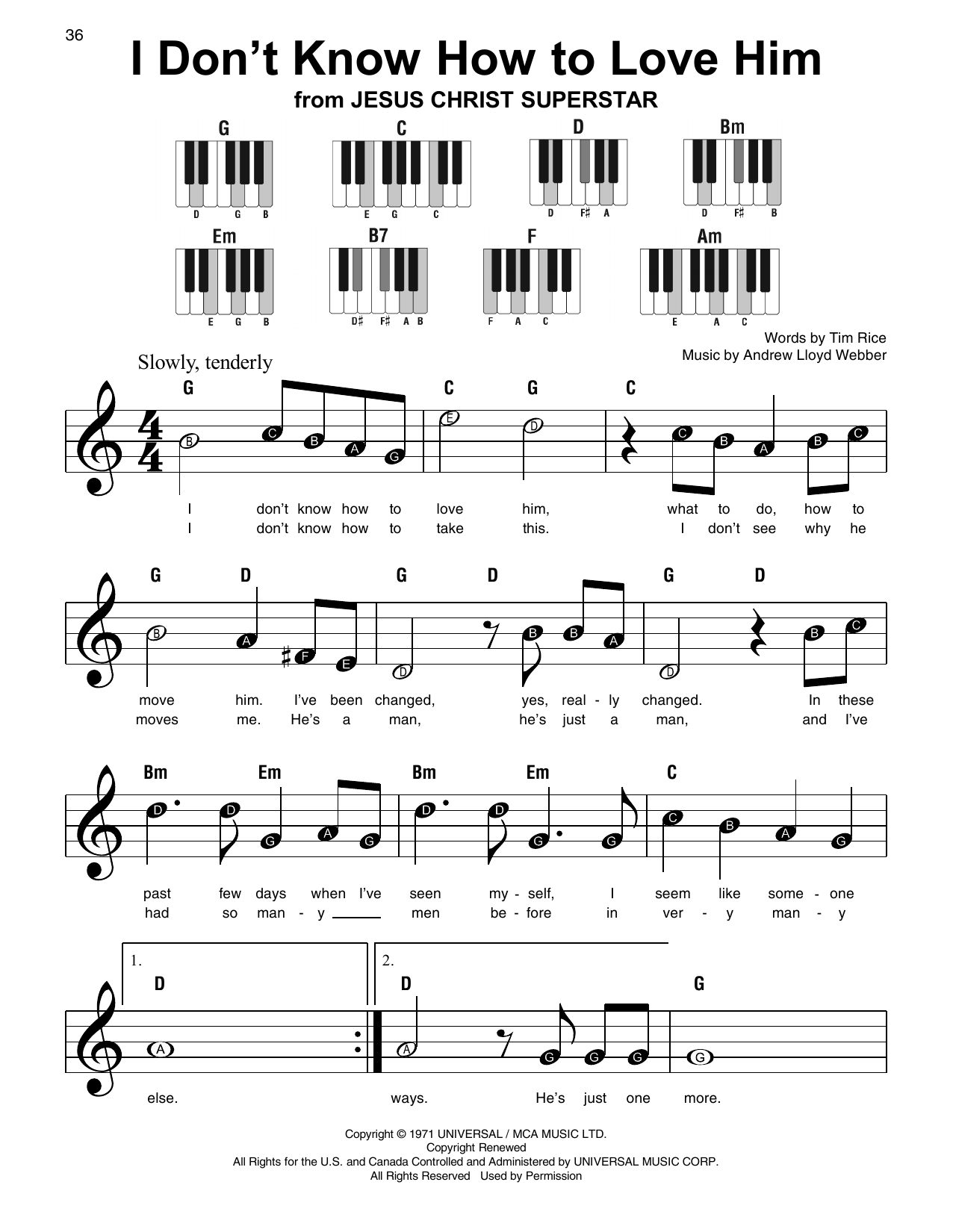 I Don't Know How To Love Him Sheet Music