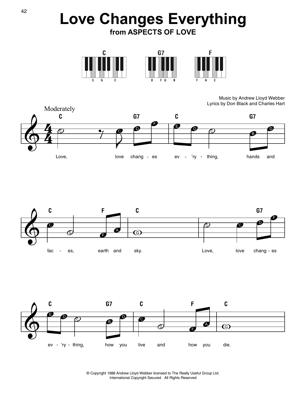 Love Changes Everything Sheet Music