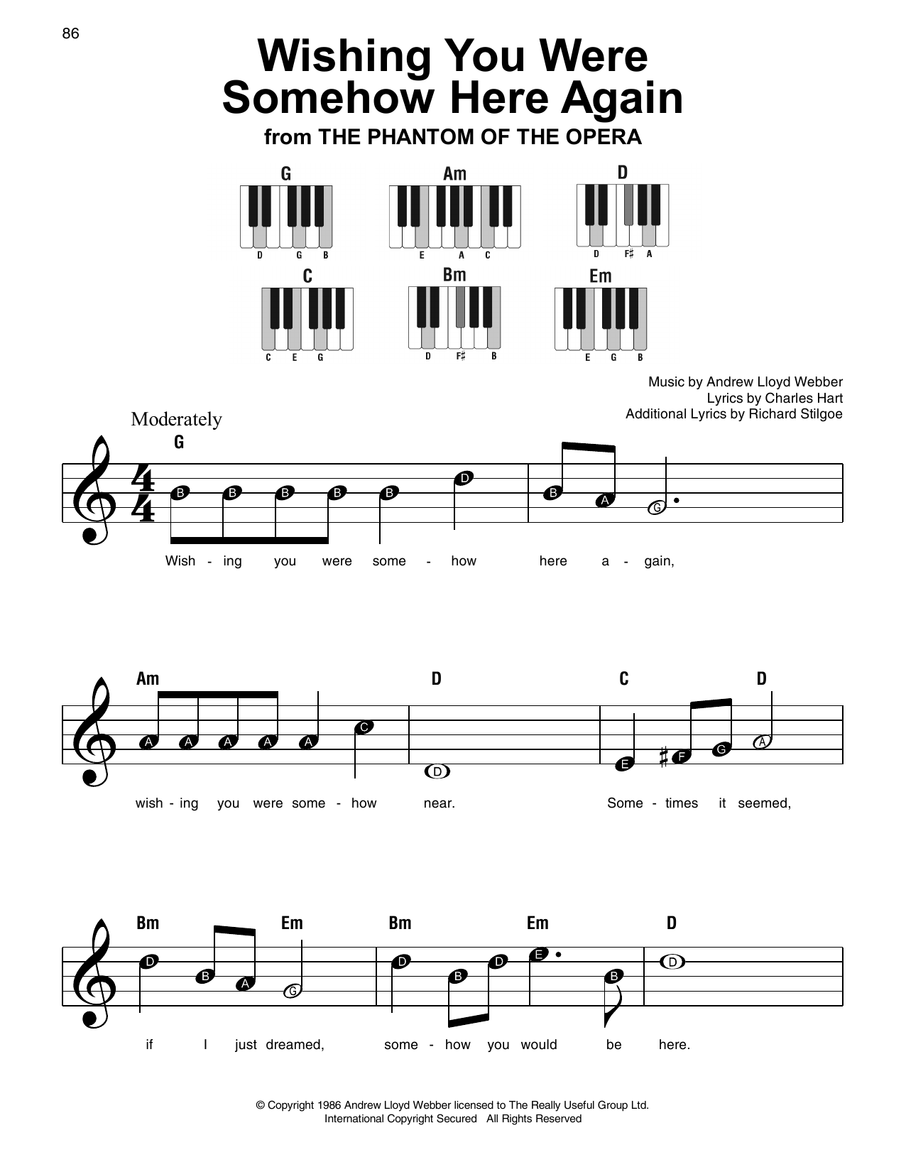 Wishing You Were Somehow Here Again (from The Phantom Of The Opera) (Super Easy Piano)