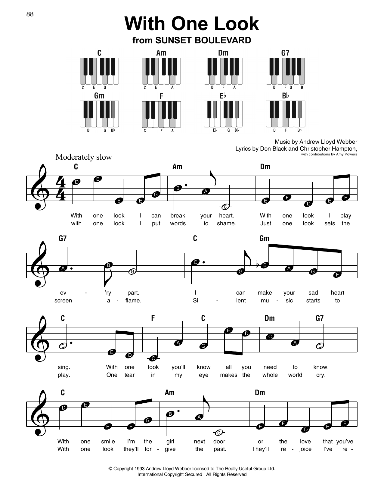 With One Look (Super Easy Piano)