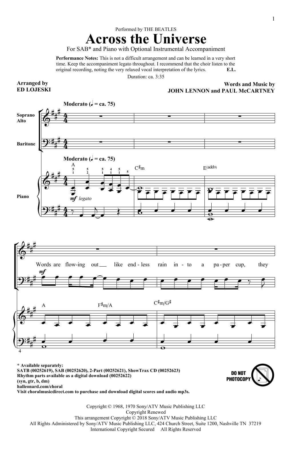 Across The Universe (SAB Choir)
