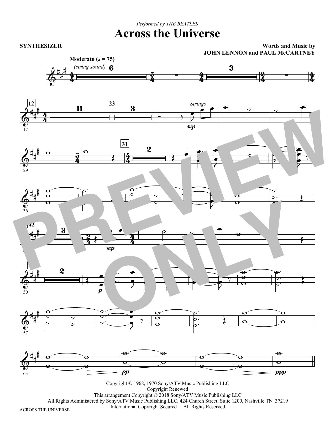 Across the Universe - Synthesizer (Choir Instrumental Pak)