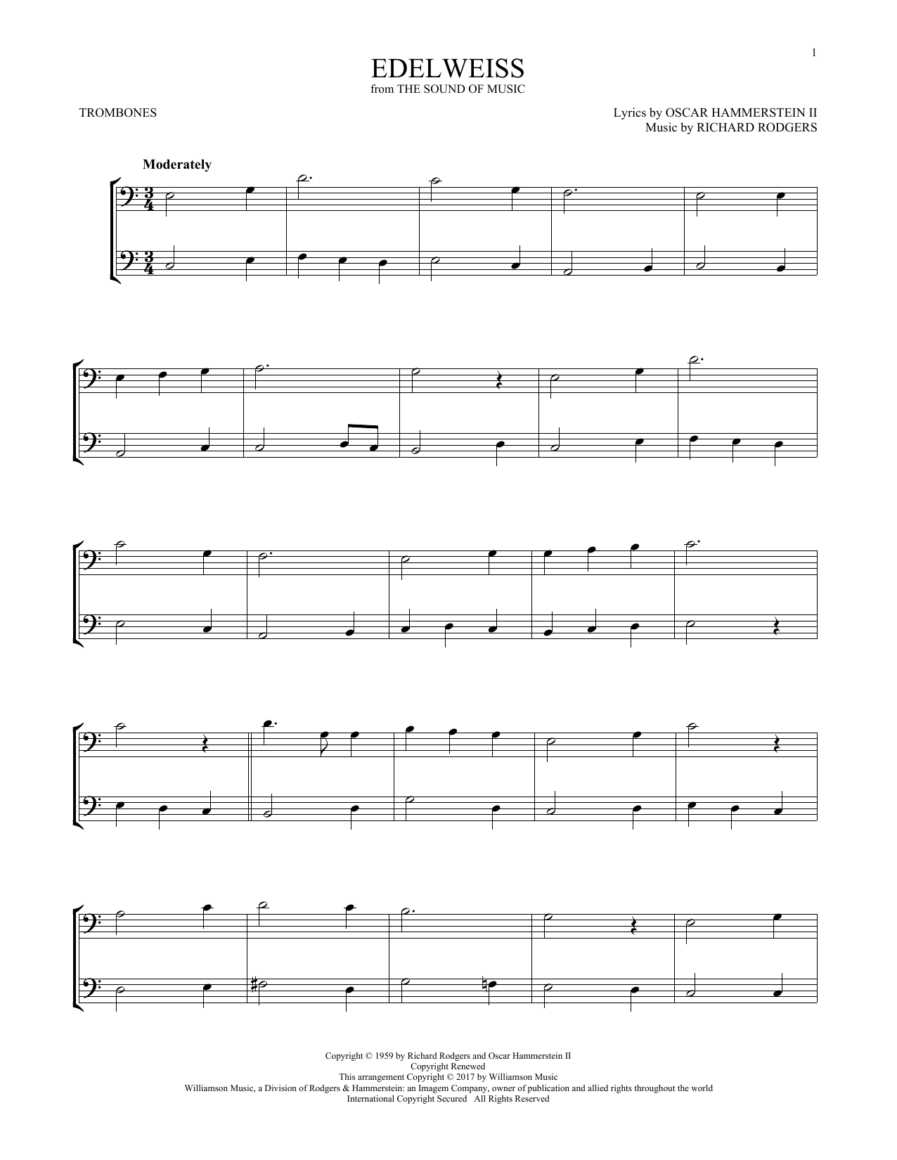Edelweiss (from The Sound of Music) (Trombone Duet)