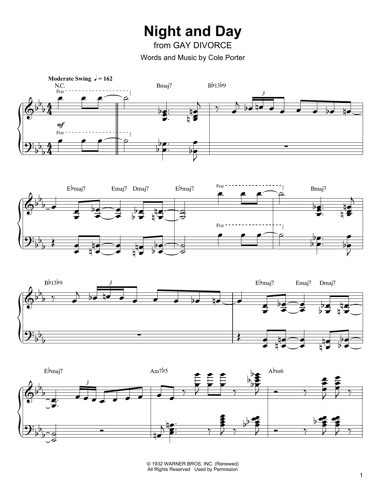 night and day sheet music oscar peterson piano transcription. Black Bedroom Furniture Sets. Home Design Ideas