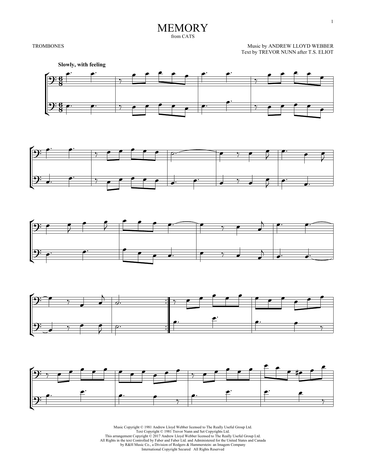 Memory (from Cats) (Trombone Duet)