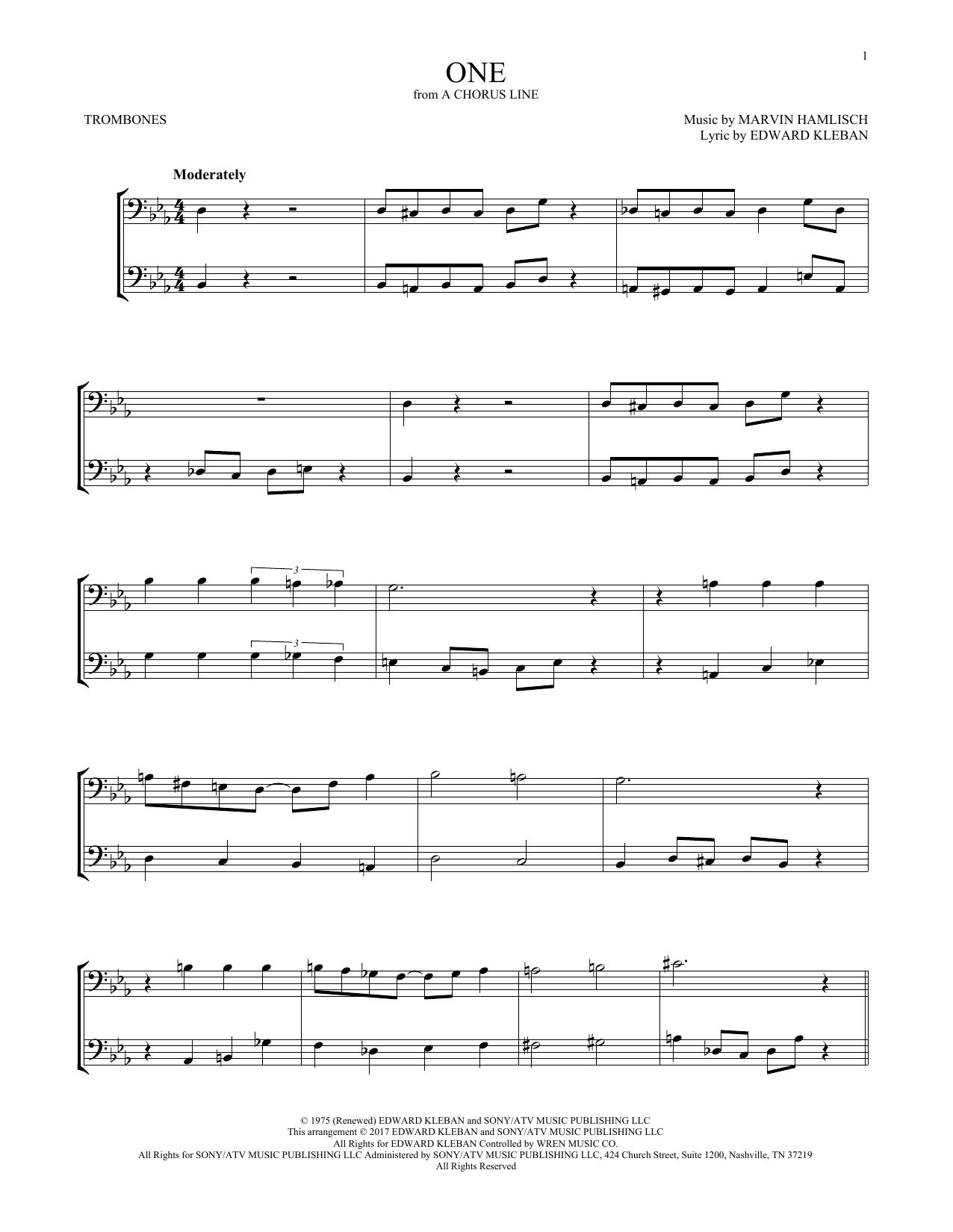 One (from A Chorus Line) (Trombone Duet)