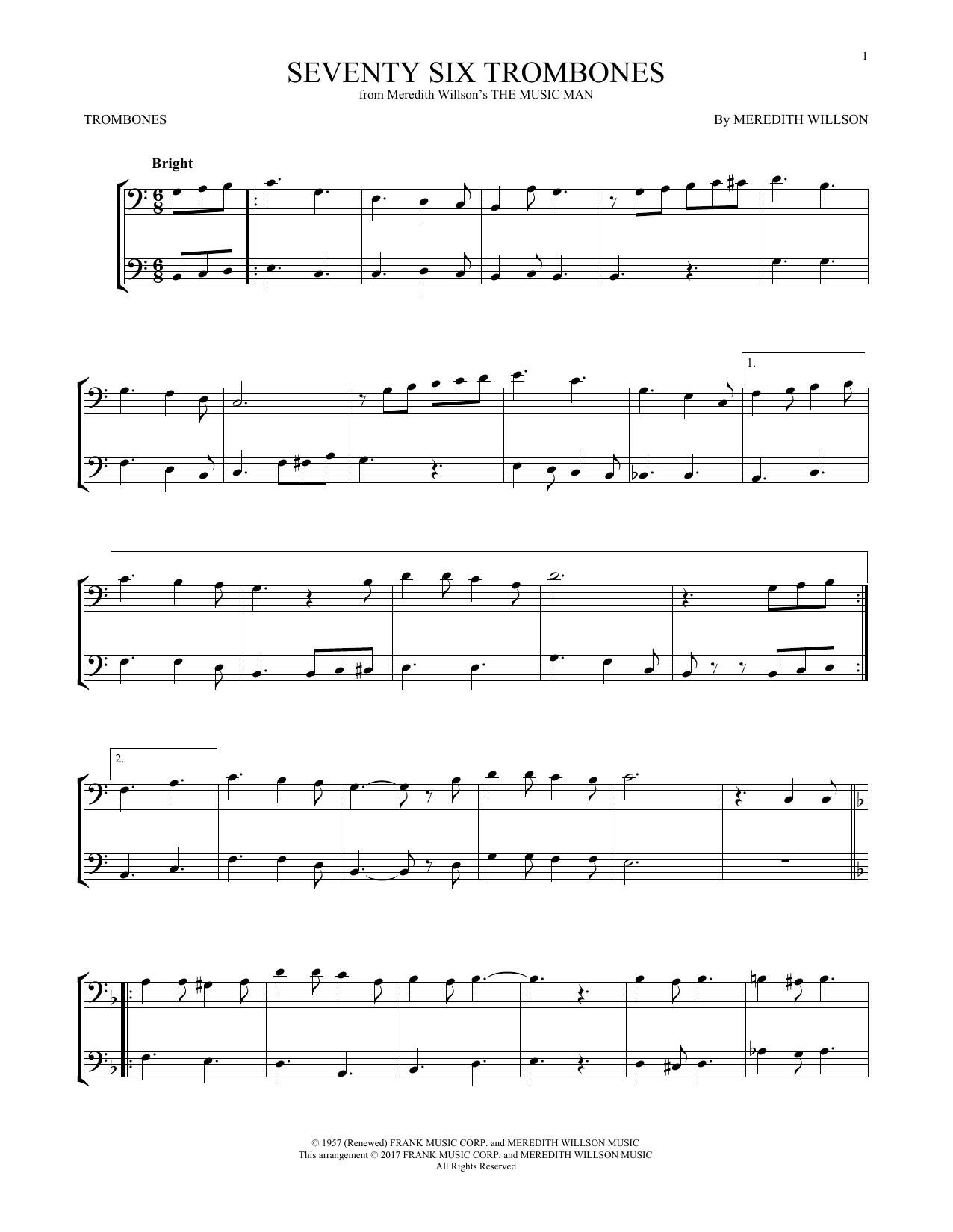 Seventy Six Trombones (from The Music Man) (Trombone Duet)