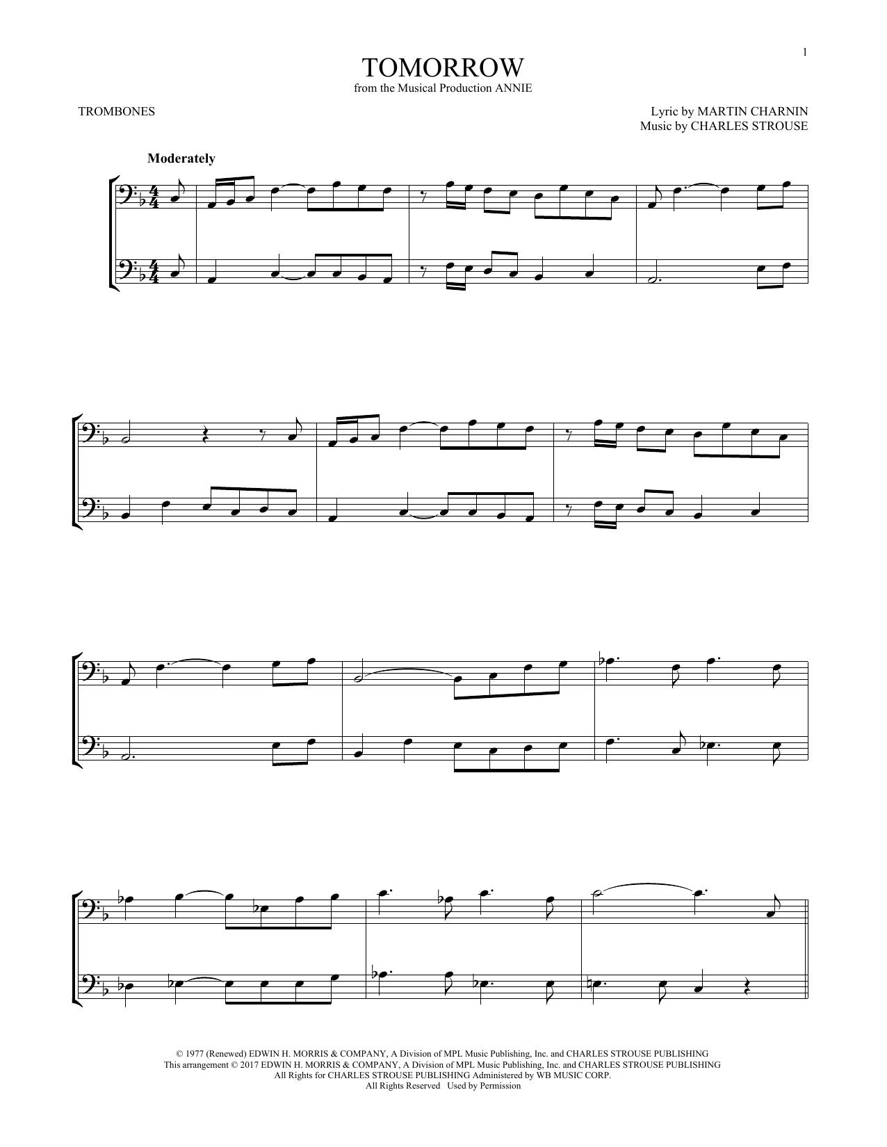 Tomorrow (from Annie) (Trombone Duet)