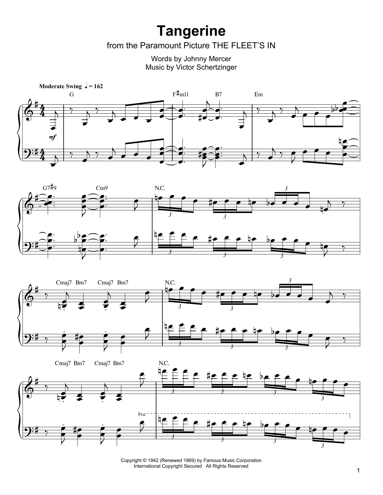 Tangerine Sheet Music