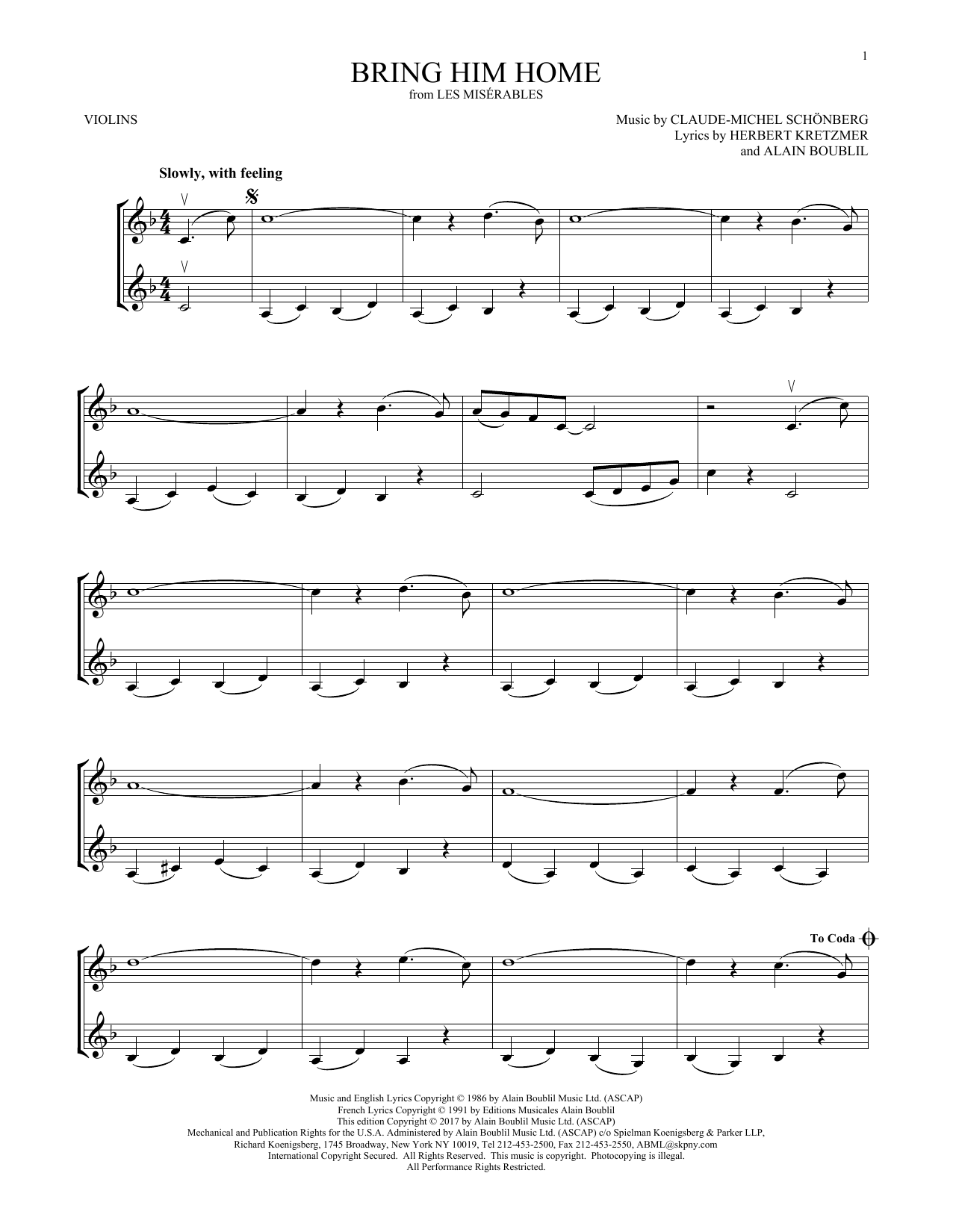 Bring Him Home (Violin Duet)