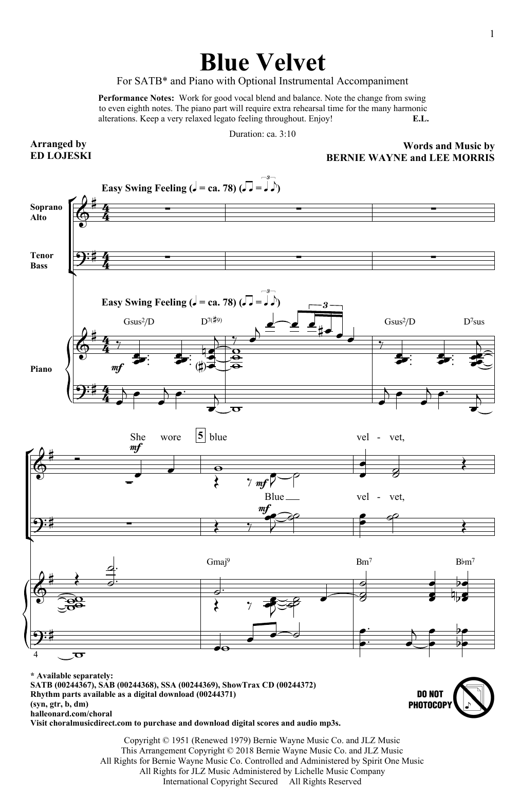 Blue Velvet (SATB Choir)