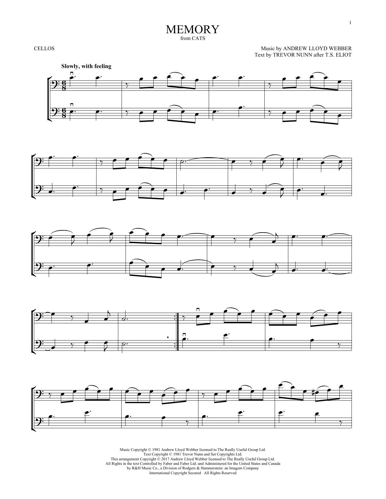 Memory (from Cats) (Cello Duet)