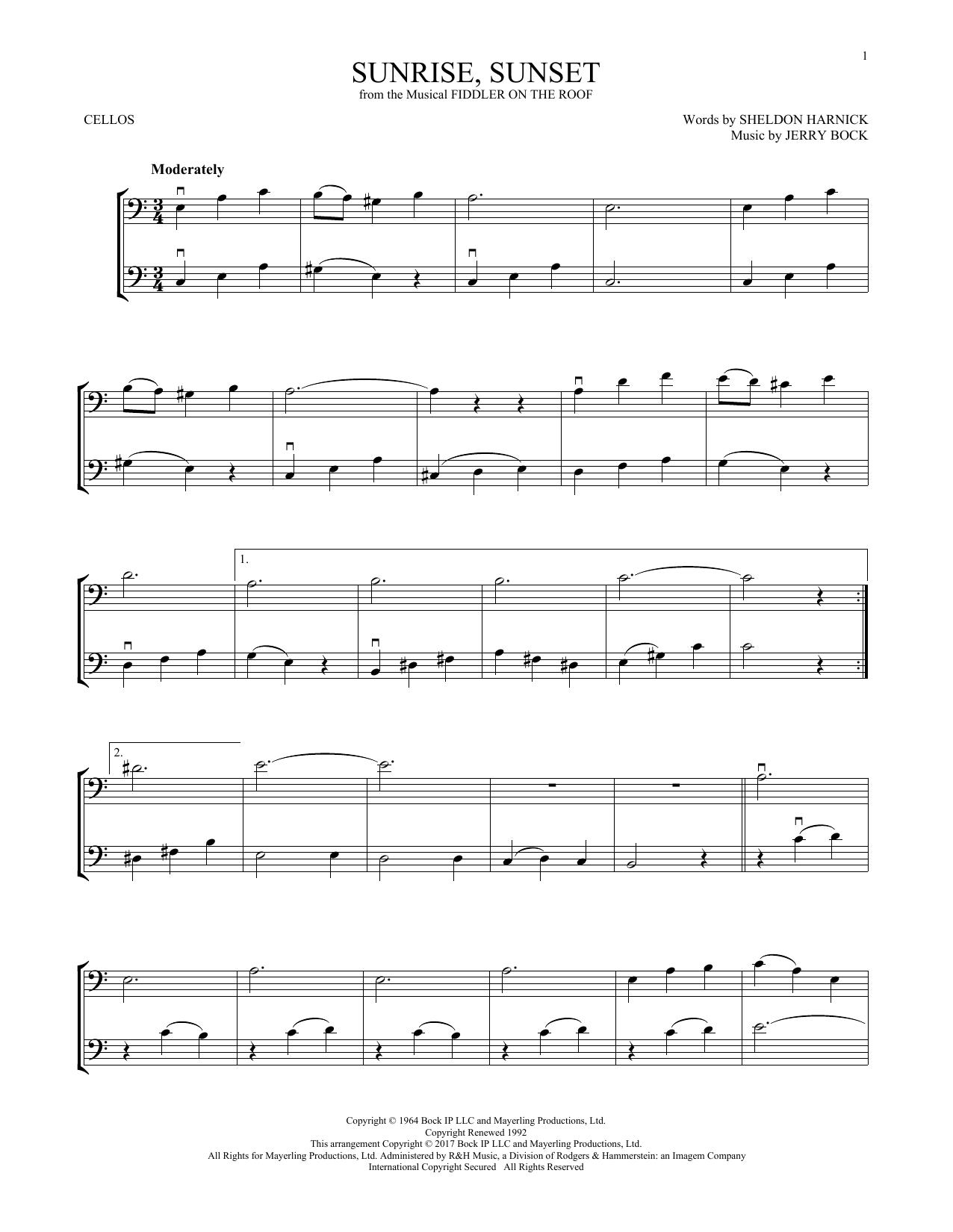 Sunrise, Sunset (from Fiddler On The Roof) (Cello Duet)