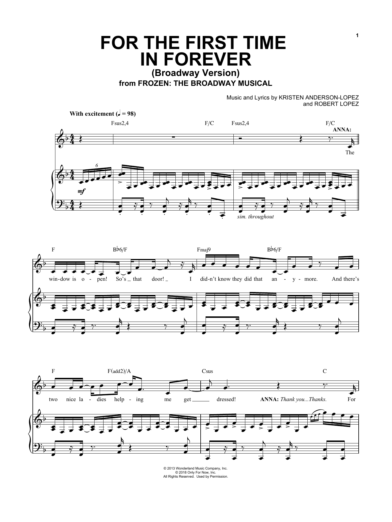 For The First Time In Forever (from Frozen: The Broadway Musical) (Piano & Vocal)