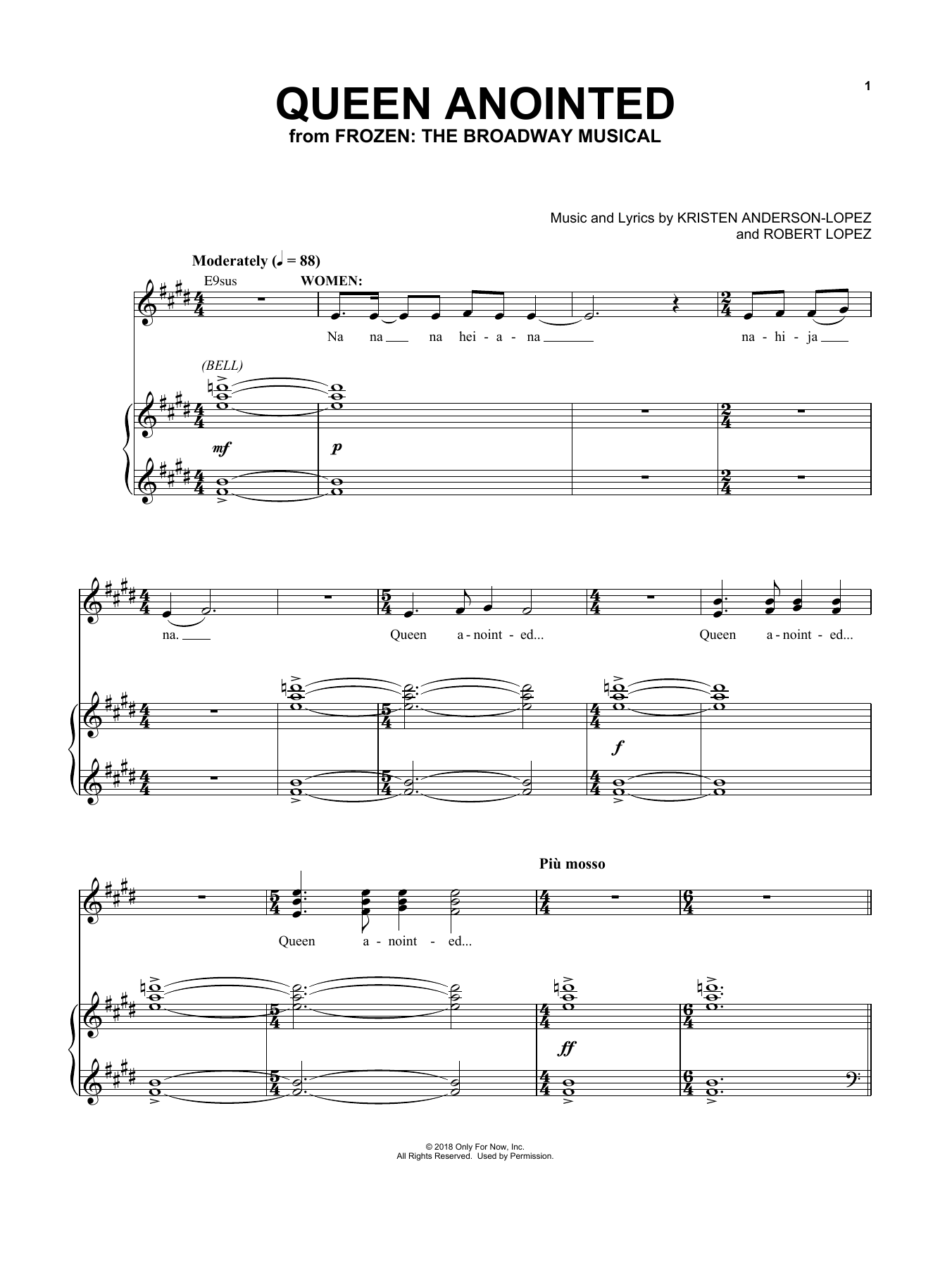 Queen Anointed (from Frozen: The Broadway Musical) (Piano & Vocal)