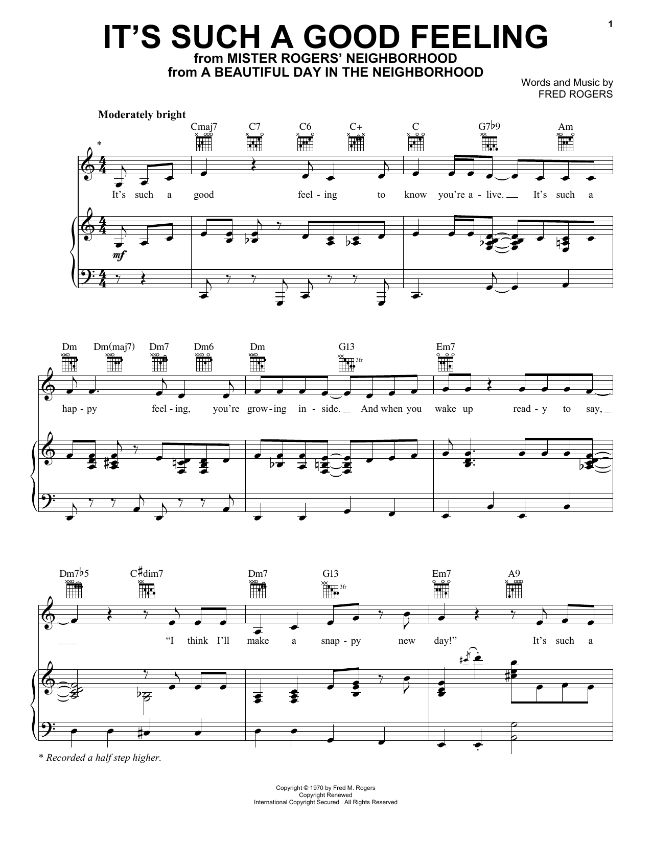 It's Such A Good Feeling (Piano, Vocal & Guitar (Right-Hand Melody))
