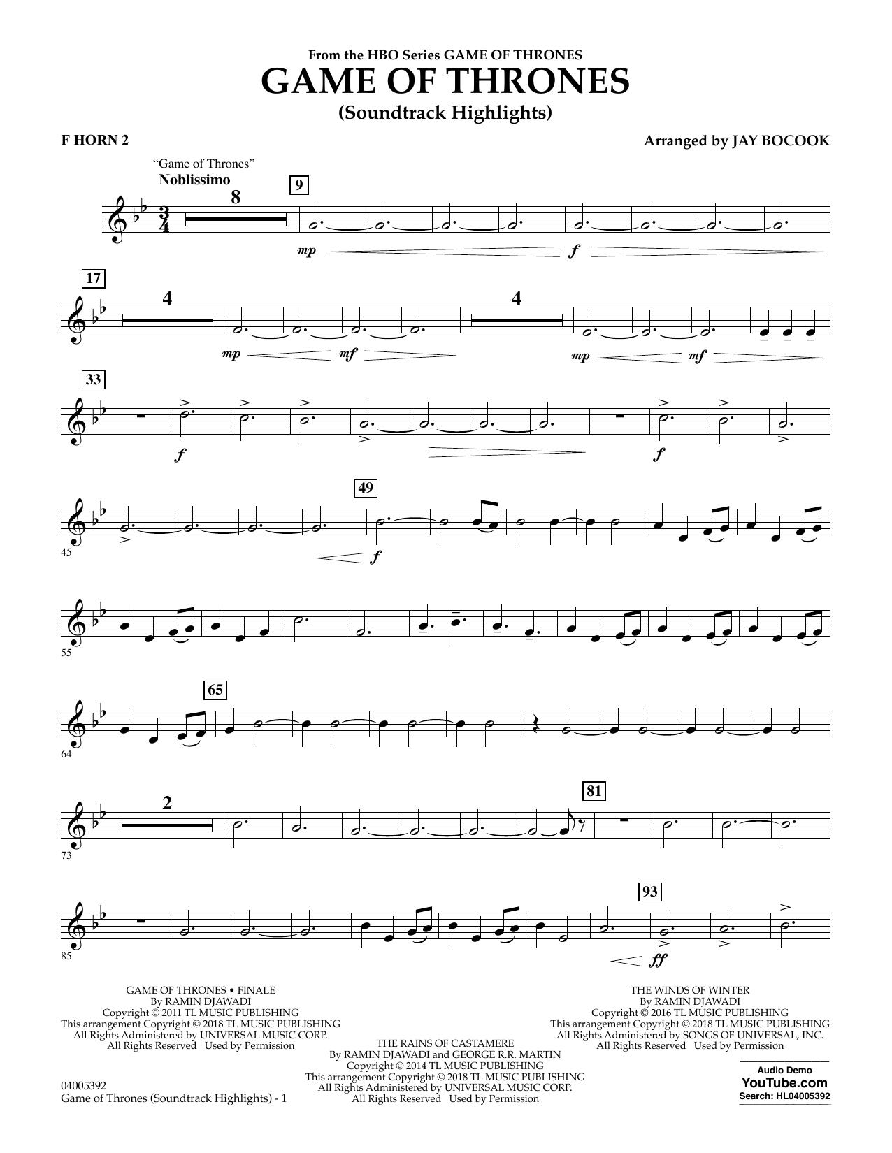 Game Of Thrones (Soundtrack Highlights) (arr. Jay Bocook) - F Horn 2 (Concert Band)