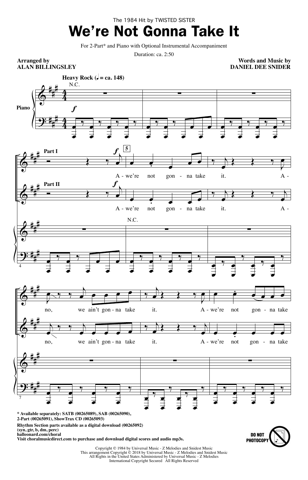 We're Not Gonna Take It Sheet Music