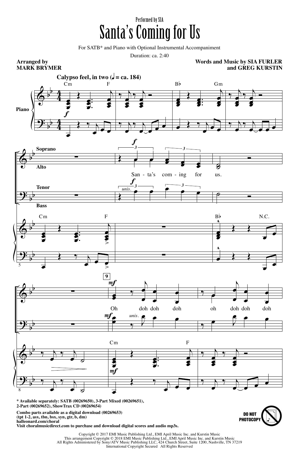 Santa's Coming For Us (arr. Mark Brymer) (SATB Choir)