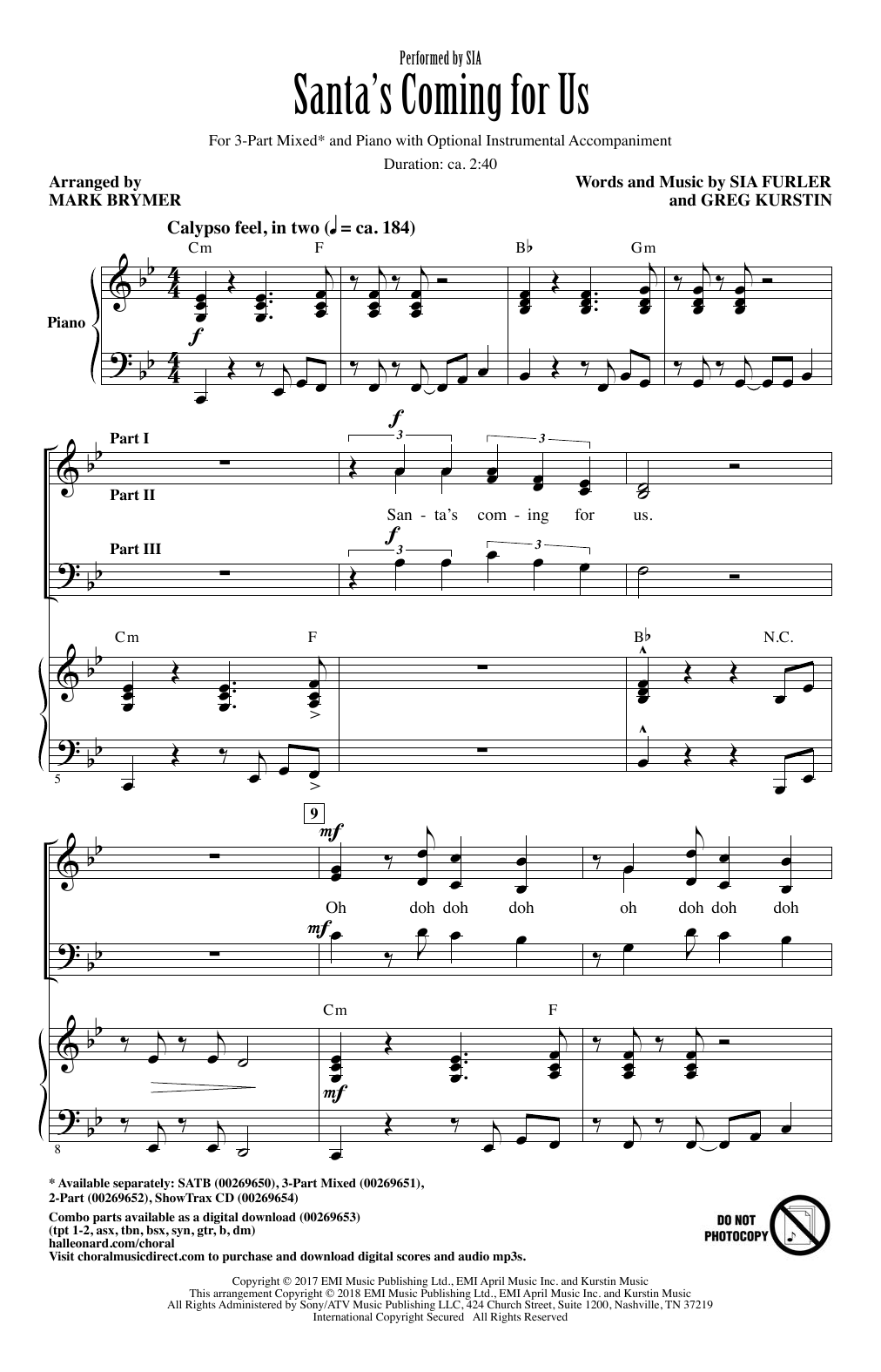 Santa's Coming For Us (arr. Mark Brymer) (3-Part Mixed Choir)